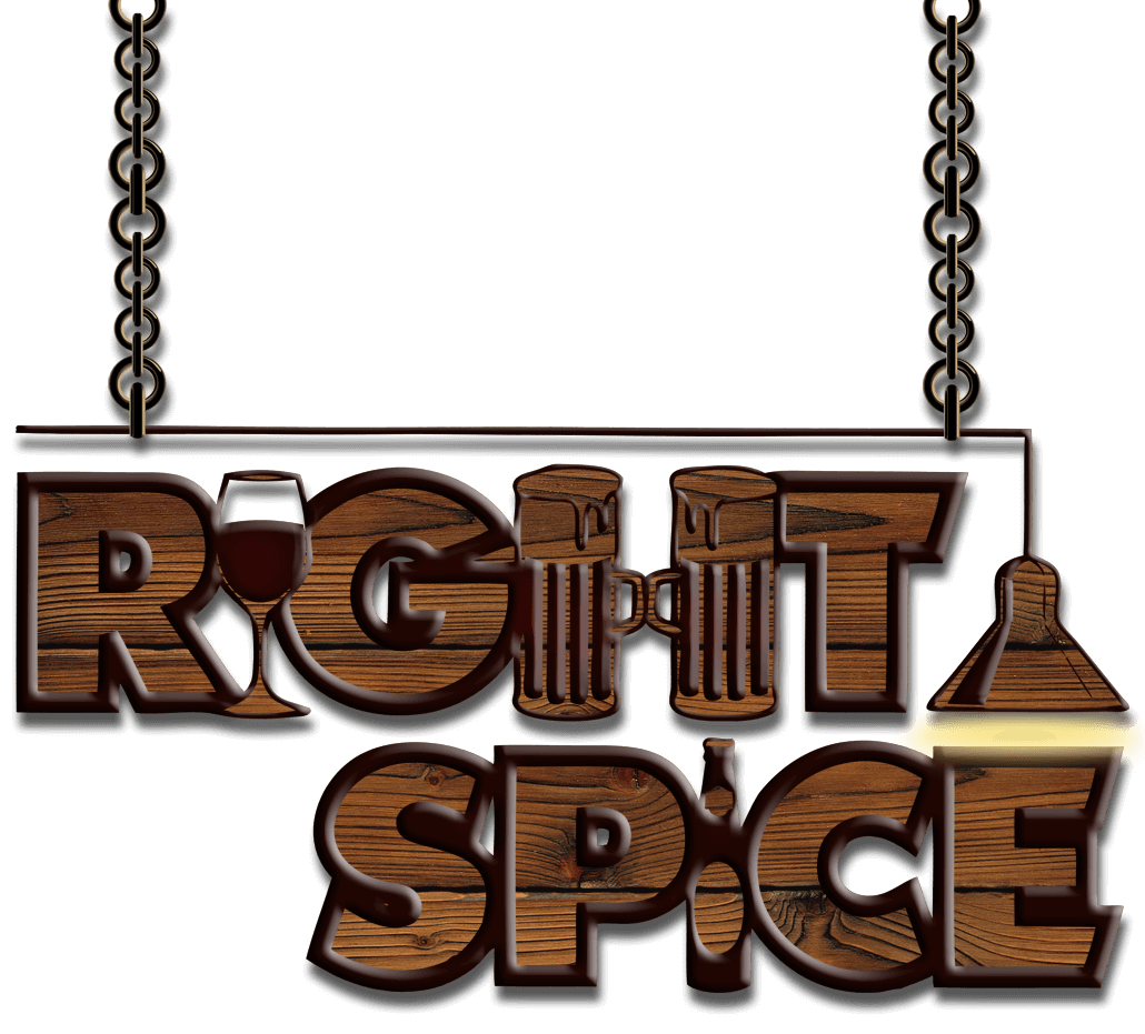 The Right Spice restaurant vintage, chained logo.